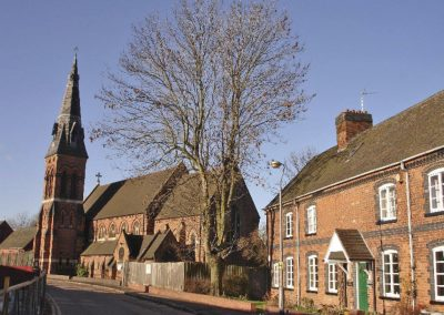 St Cyprians Church and cottages built by James Horsfall 1850s